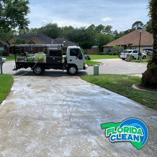 Concrete Cleaning For Hardscapes, Driveways, And Sidewalks Whether your concrete hardscaping features are only functional, or they merge beauty and use, keeping them clean should be a priority. That's because pressure washing your concrete surfaces supports longevity, curb appeal, safety, and healthy living. Our concrete washing service delivers on these significant criteria. Happily, you don't have to do a thing. We make it easy by doing all the work for you. How Concrete Cleaning Benefits You Concrete surfaces — like driveways, sidewalks, and patios — suffer a great deal of wear and tear. Being outdoors exposes them to weather, pollution, dirt, debris, and other contaminants. Vehicles and foot traffic add to the dirt and grime with sand, oil, chemicals, and other corrosive materials. That buildup shortens the lifespan of your concrete, causing cracks and breakage. Then vegetation grows in those damaged areas. These unsafe conditions create tripping hazards. Moreover, you risk tracking dangerous chemicals and unsanitary debris into your home on the bottom of your feet. This may pose health risks to family members and pets. Diminish these hazards with our concrete pressure washing services. Hard Surfaces That Can Use A Deep Cleaning Your property is unique, reflecting your personal tastes and preferences. That said, we have several years of experience with different and varied homes and businesses. We've seen it all and cleaned it all, and we do the job right. Just know that we customize our cleaning methods to your concrete features and needs. We know how to clean all types of concrete surfaces and structures, like the following: Driveways and RV pads Parking Lots Garages Sidewalks and pavers Patios Pool Decks Retaining Walls Steps Fountains Statues Benches Our cost-effective concrete cleaning gives your exterior brand-new appeal. Call Florida Clean for skilled pressure washing services tailored to your concrete hardscaping.
